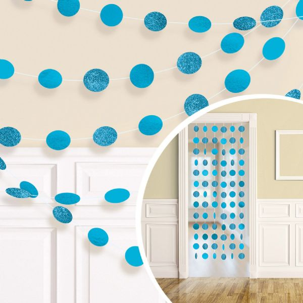 Caribbean Blue Glitter String Decorations (6)
